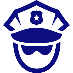 Picture of a police officer with hat and glasses